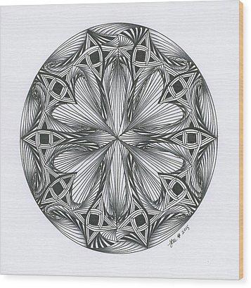 Paradoxical Zendala Wood Print by Jan Steinle