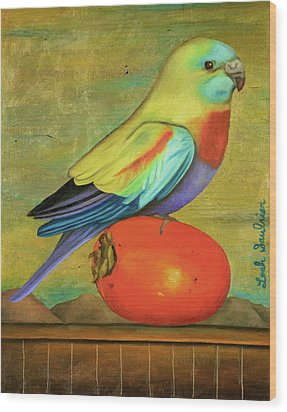 Parakeet On A Persimmon Wood Print by Leah Saulnier The Painting Maniac