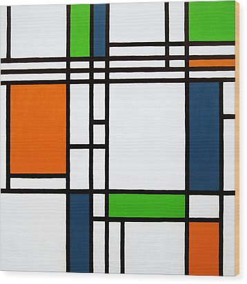 Parallel Lines Composition With Blue Green And Orange In Opposition Wood Print by Oliver Johnston