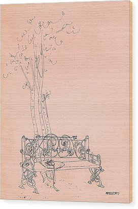 Wood Print featuring the drawing Parc by Stuart
