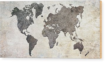 Wood Print featuring the digital art Parchment World Map by Douglas Pittman