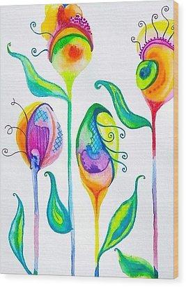 Parfait Space Flowers Wood Print