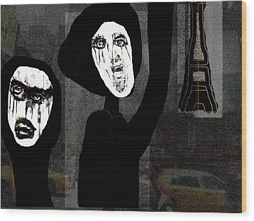 Paris After Dark Wood Print by Rc Rcd