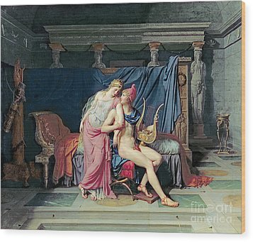Paris And Helen Wood Print by Jacques Louis David