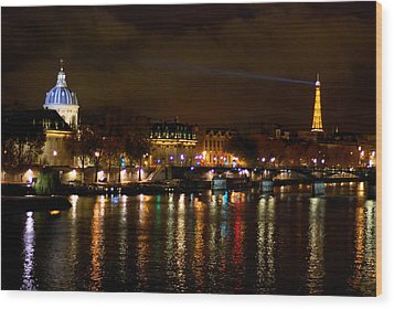 Wood Print featuring the photograph Paris At Night by Steven Richman