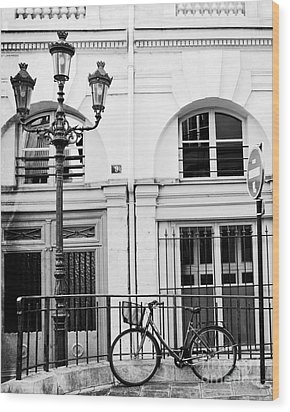 Wood Print featuring the photograph Paris Black And White Architecture Windows Street Lanterns Bicycle Print - Paris Street Lanterns by Kathy Fornal