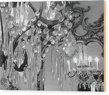 Wood Print featuring the photograph Paris Black And White Crystal Chandelier Mirrored Wall Decor -parisian Black White Chandelier Prints by Kathy Fornal
