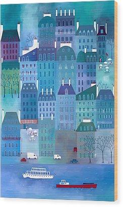 Paris Blues Wood Print by Nic Squirrell