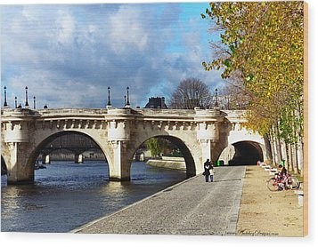 Paris Bridge 0523 Wood Print by PhotohogDesigns