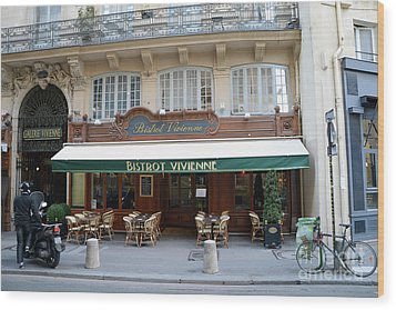 Wood Print featuring the photograph Paris Cafe Bistro - Galerie Vivienne - Paris Cafes Bistro Restaurant-paris Cafe Galerie Vivienne by Kathy Fornal