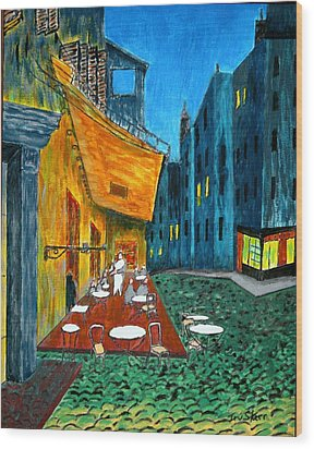 Paris Cafe Wood Print by Irving Starr