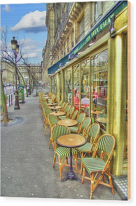Paris Cafe Wood Print by Mark Currier