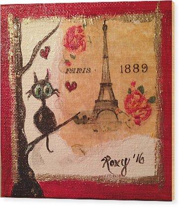 Paris Cat  Wood Print by Roxy Rich