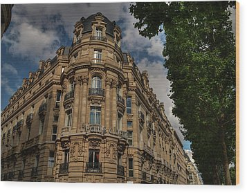 Wood Print featuring the photograph Paris - Champs Elysees 001 by Lance Vaughn