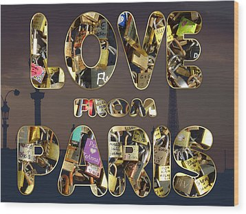 Wood Print featuring the painting Paris City Of Love And Lovelocks by Georgeta Blanaru