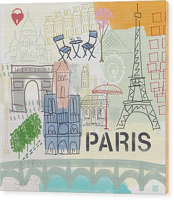 Paris Cityscape- Art By Linda Woods Wood Print by Linda Woods