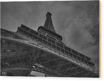 Wood Print featuring the photograph Paris - Eiffel Tower 001 Bw by Lance Vaughn