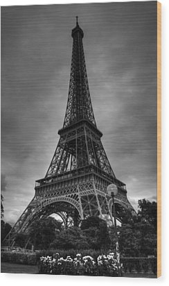 Wood Print featuring the photograph Paris - Eiffel Tower 004 Bw by Lance Vaughn