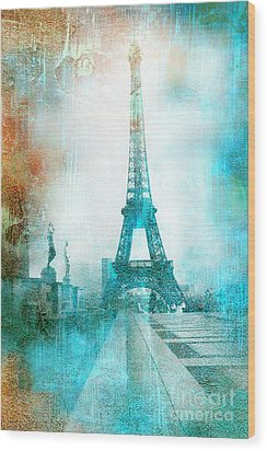 Paris Eiffel Tower Aqua Impressionistic Abstract Wood Print by Kathy Fornal