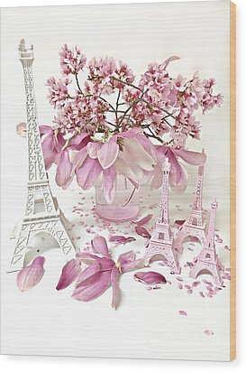 Wood Print featuring the photograph Paris Eiffel Tower Spring Magnolia Flower Blossoms - Paris Pink White Spring Blossoms  by Kathy Fornal