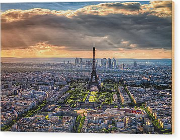 Paris From Above Wood Print by Tim Stanley