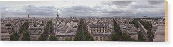 Paris From The Arch De Triumph Wood Print by Robert Ponzoni