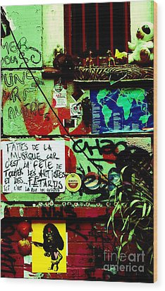 Paris Graffiti Wood Print by Louise Fahy