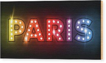 Paris In Lights Wood Print by Michael Tompsett