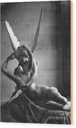 Paris In Love - Eros And Psyche Romantic Lovers - Paris Eros Psyche Louvre Sculpture Black White Art Wood Print by Kathy Fornal