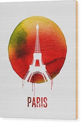 Paris Landmark Red Wood Print by Naxart Studio