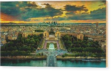 Paris Landscape Wood Print by Vincent Monozlay
