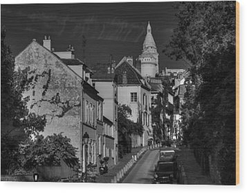 Wood Print featuring the photograph Paris - Montmartre Streetscape 002 Bw by Lance Vaughn
