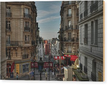 Wood Print featuring the photograph Paris - Montmartre Streetscape 004 by Lance Vaughn