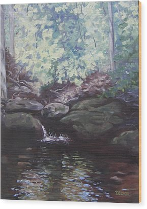 Wood Print featuring the painting Paris Mountain Waterfall by Robert Decker