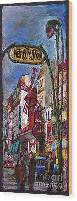 Paris Mulen Rouge Wood Print by Yuriy  Shevchuk