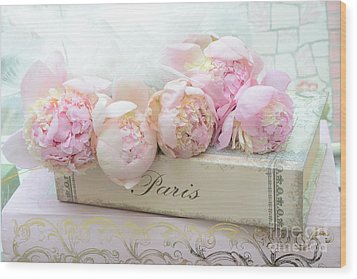 Paris Pink Peonies Romantic Shabby Chic French Market Peonies - Paris Romantic Peonies And Book Art Wood Print by Kathy Fornal
