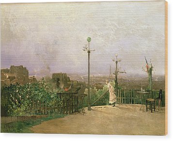 Paris Seen From The Heights Of Montmartre Wood Print by Jean dAlheim