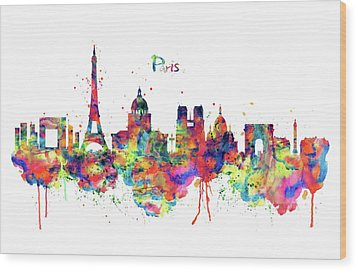 Wood Print featuring the mixed media Paris Skyline 2 by Marian Voicu