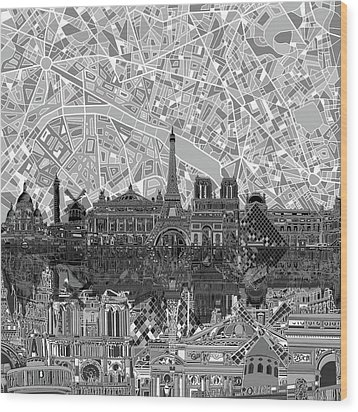 Wood Print featuring the painting Paris Skyline Black And White by Bekim Art
