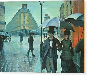 Paris Street Rainy Day Wood Print by Jose Roldan Rendon