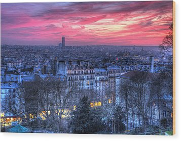 Paris Sunset Wood Print by Shawn Everhart