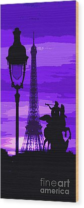 Paris Tour Eiffel Violet Wood Print by Yuriy  Shevchuk