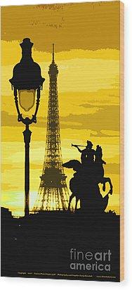 Paris Tour Eiffel Yellow Wood Print by Yuriy  Shevchuk
