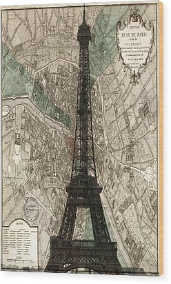 Paris Vintage Map And Eiffel Tower Wood Print by Georgia Fowler