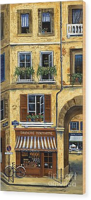 Parisian Bistro And Butcher Shop Wood Print by Marilyn Dunlap