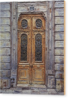Wood Print featuring the painting Parisian Door No. 15 by Joey Agbayani