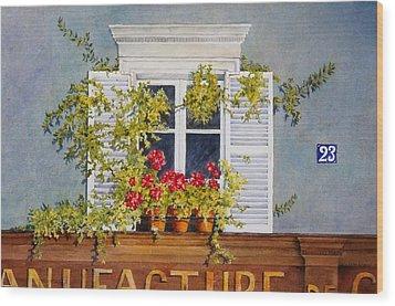 Parisian Window Wood Print by Mary Ellen Mueller Legault