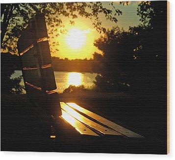 Park Bench At Sunset Wood Print