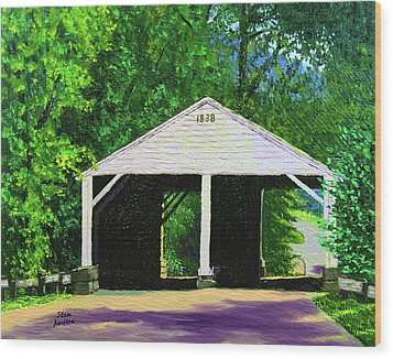 Park Covered Bridge Wood Print by Stan Hamilton