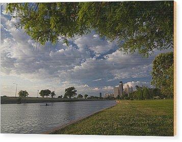 Park Scene With Rower And Skyline Wood Print by Sven Brogren